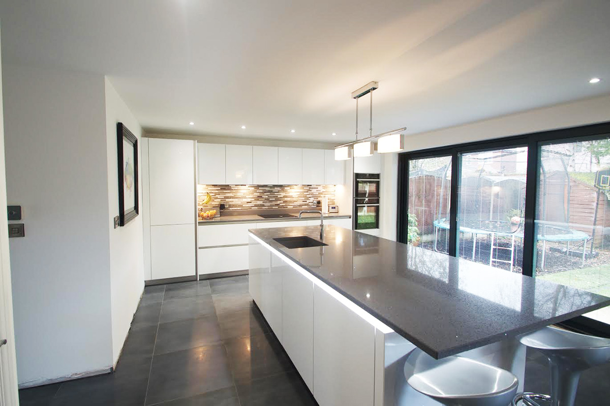 Custom fitted German Kitchen in Crystal White High Gloss in Ellesmere Park, Eccles, Manchester